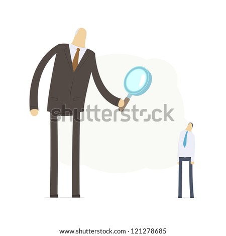 Boss examines its employee - stock vector