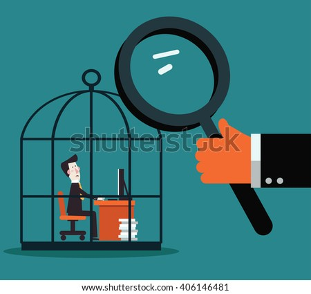 Boss examining employee with magnifying glass. Work under pressure, stressing situations, subordination, overwork and power abuse vector concept illustration. Stressed and sad businessman at work - stock vector