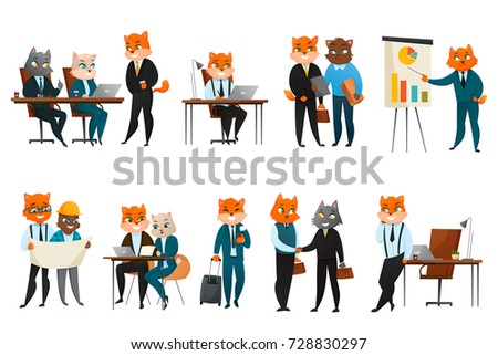 Boss Executive Business Cat Anthropomorphic Businessman Comic Character In Corporate Office Cartoon Icons Webcomic Composition Vector