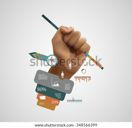 Boss hand, creative elements, employer statistic concept, realistic hand in fist, work infographic. - stock vector