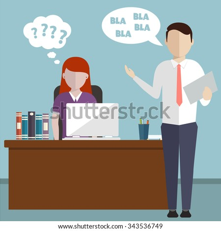 Boss having an argument with employee over project, pressured by lack of time deadline, screaming at employee  - stock vector