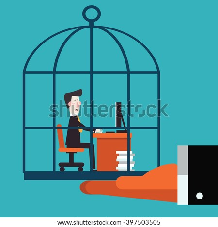 Boss holding his employee in a cage. Work under pressure, stressing situations, subordination, overwork and power abuse vector concept illustration - stock vector