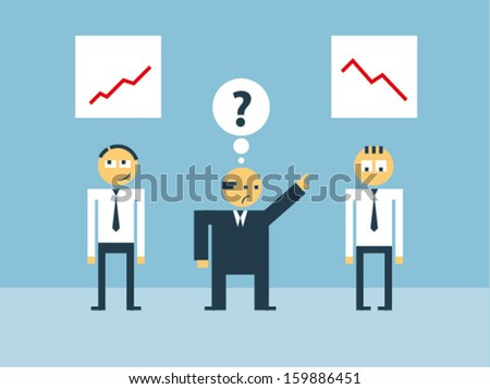 Boss scolds his subordinate for his low efficiency - stock vector