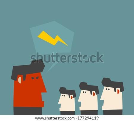 Boss shouting at employee. Vector illustration. - stock vector