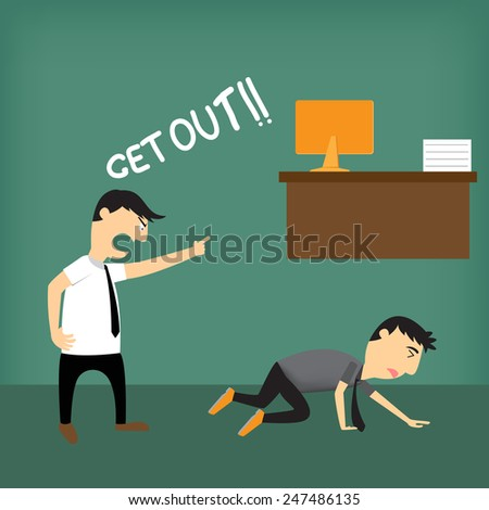 Boss shouting at employee, vector illustration. - stock vector