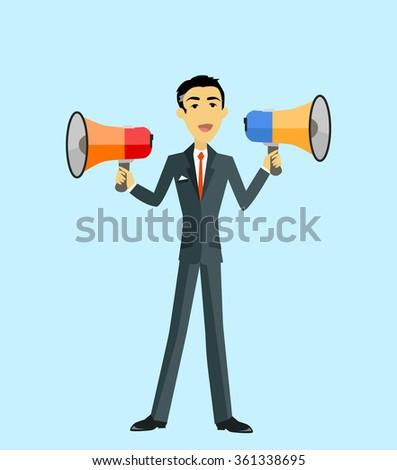 Boss with megaphone. Man with two megaphone. Businessman boss hold megaphone loudspeaker. Boss angry with megaphone. Boss yells into a megaphone. Leadership announcement. Vector illustration - stock vector