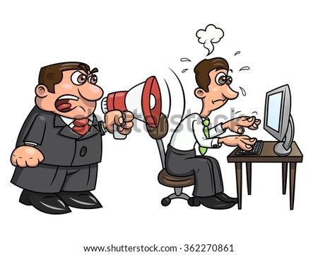 Boss yelling at worker 2 - stock vector