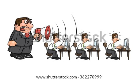 Boss yelling at workers 2 - stock vector