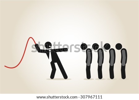 Bossy authority executive boss bully downtrodden oppression angry furious - stock vector