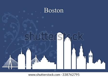 Boston city skyline silhouette on blue background, vector illustration - stock vector