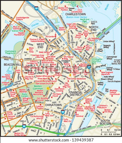 Boston Massachusetts Downtown Map Stock Vector 139439387 Shutterstock