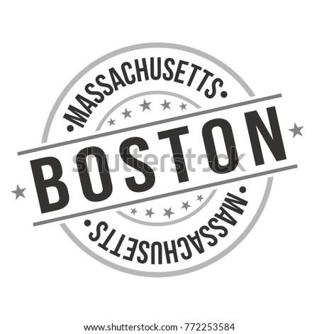 Boston Massachusetts USA Quality Original Stamp Stock Vector ...
