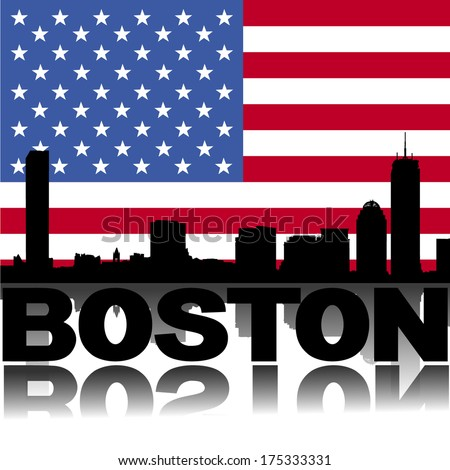 Boston skyline and text reflected with American flag vector illustration - stock vector