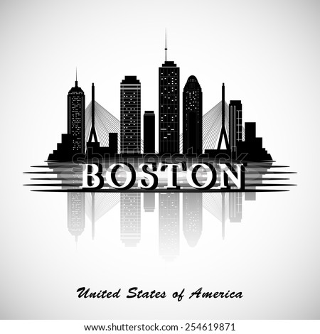 Boston skyline. City silhouette - stock vector