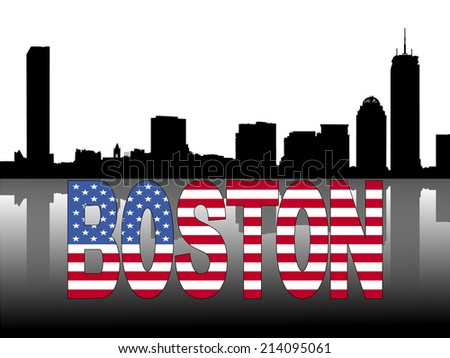 Boston skyline reflected with American flag text vector illustration - stock vector