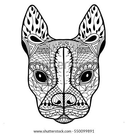 Boston terrier or french bulldog blank adult coloring page in zentangle style for relaxation