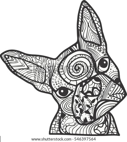 boston terrier or french bulldog doodle coloring page in black and white