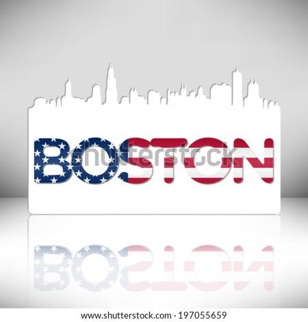 Boston USA skyline silhouette vector design. Greeting card illustration. - stock vector