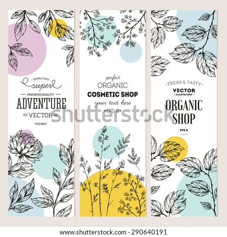 Botanical banner collection. Organic cosmetic. Vector illustration - stock vector