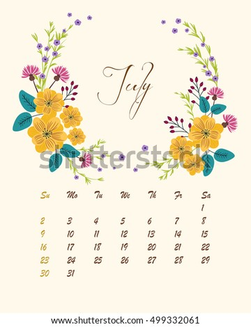 Botanical calendar for 2017 year - vector template
