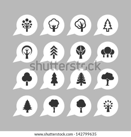 Botany symbols. Tree icon set. - stock vector