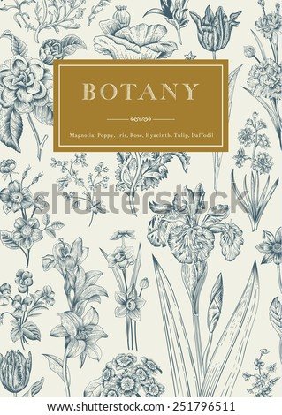 Botany. Vintage floral card. Vector illustration of style engravings. Blue flowers with gold frame. - stock vector