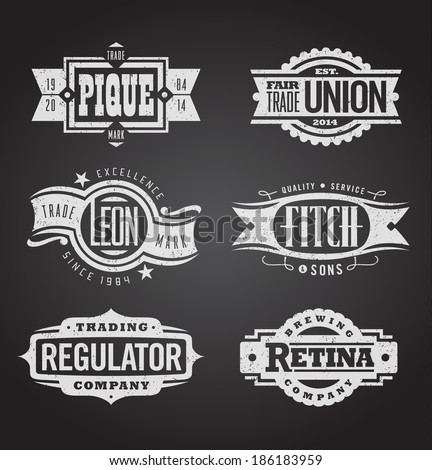 Both clean and distressed retro vector grunge banners, seals and medallions - stock vector