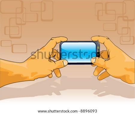 Both Hands holding cute gadget - stock vector