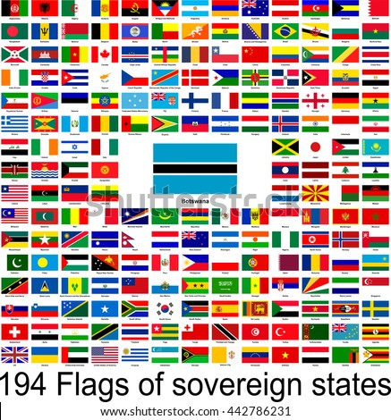 Botswana, collection of vector images of flags of the world