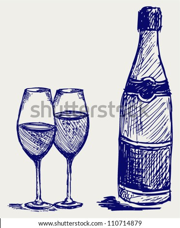 Bottle and glass of champagne. Doodle style - stock vector