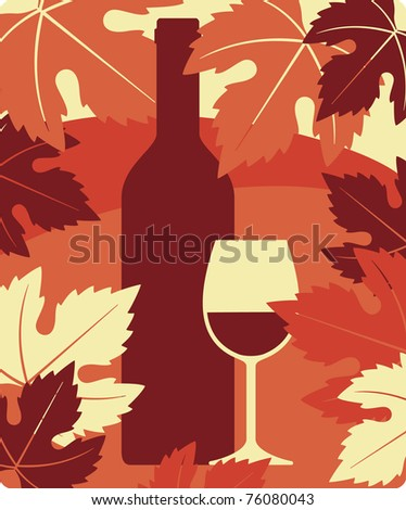 Bottle and glass of red wine, vector vine still life background