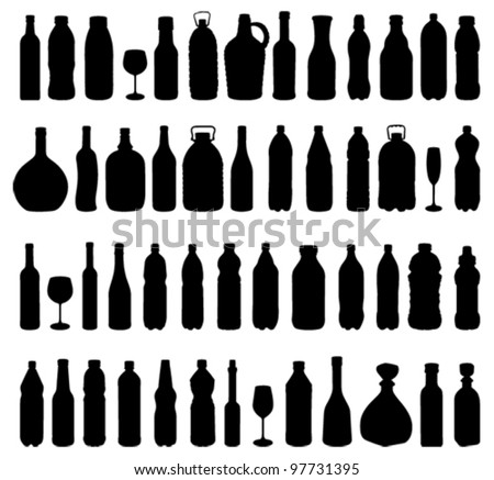 bottle and glass silhouettes - stock vector