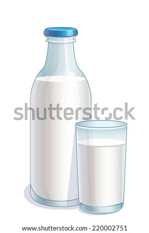 Bottle and glass with milk - stock vector