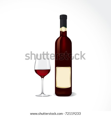 Bottle and glass with red wine. - stock vector