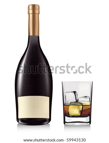 Bottle and whiskey in glass. Vector. - stock vector