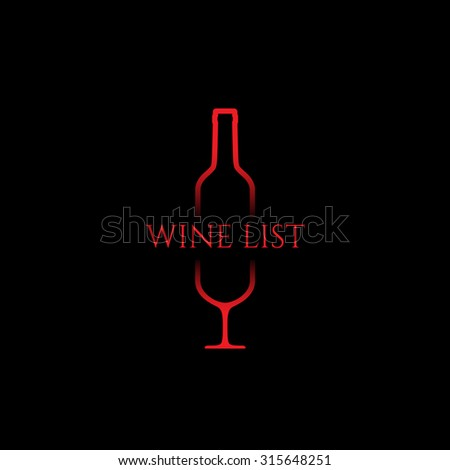 Bottle and wine glass with text. Template for logo, label, emblem, icon, symbol.Vector illustration. - stock vector
