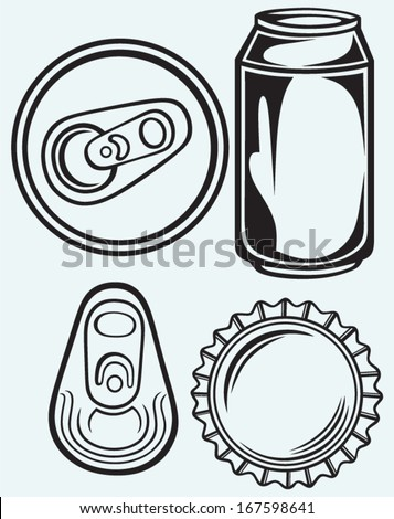 Bottle cap beer isolated on blue batskground - stock vector