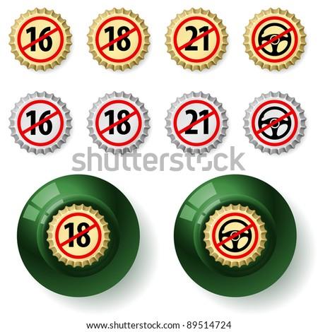 Bottle caps.  Illustration on white background - stock vector