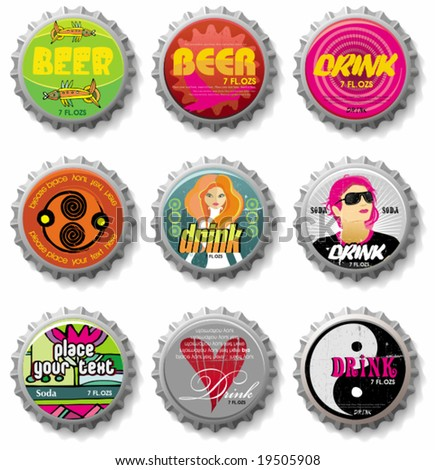 bottle caps 4 - vector set. To see similar, please VISIT MY GALLERY. - stock vector