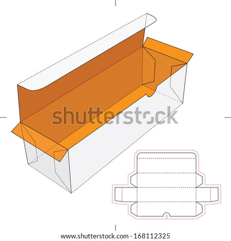 Bottle Cardboard Box with Blueprint Layout  - stock vector