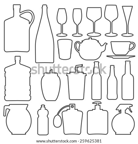Bottle collection line vector silhouette - stock vector