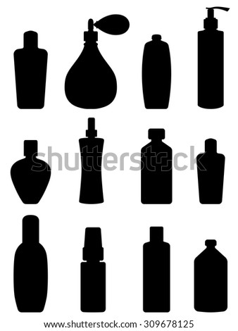 Bottle collection - vector silhouette. Isolated on white - stock vector