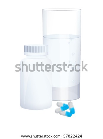 Bottle, glass and blue pills, vector - stock vector