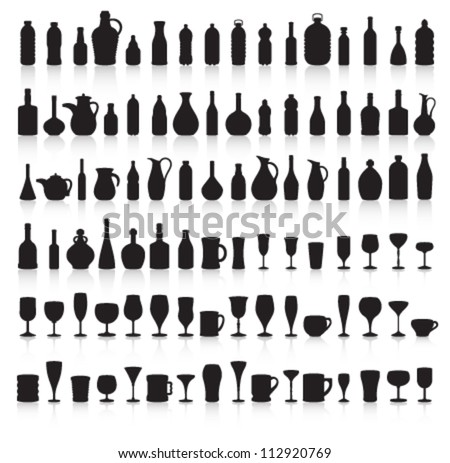 Bottle, Glass and Jug Silhouettes with Reflection Vector - stock vector