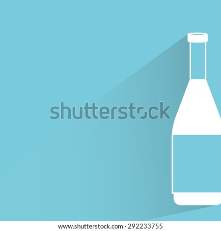 bottle in blue background, shadow and flat theme