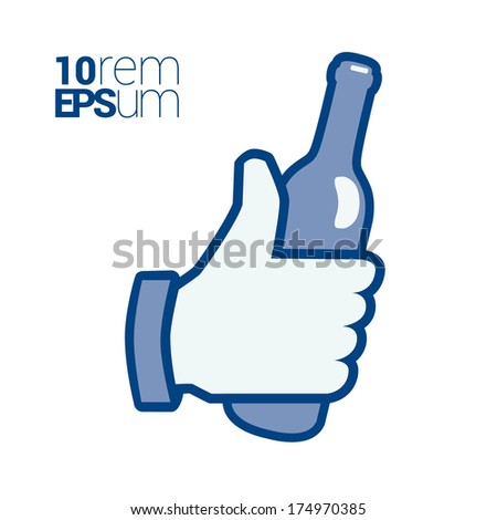 Bottle in hand isolated white background. Vector illustration. - stock vector
