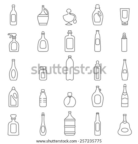 Bottle line icons set.Vector - stock vector