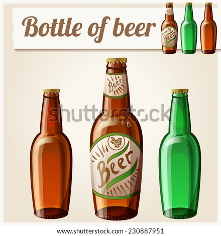 Bottle of beer. Detailed Vector Icon. Series of food and drink and ingredients for cooking. - stock vector