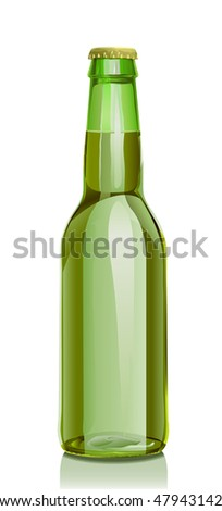 Bottle of beer from green glass and a metal cover. A series of images. Visit my portfolio for a finding of others realistic vector images of bottles - stock vector
