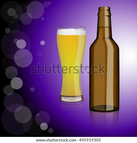 Bottle of beer, glass of beer.Entertainment, drinks. Design for bars